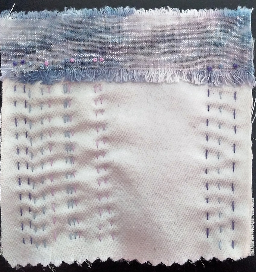 hand embroidered 5 inch square using hand dyed linen and repurposed silk