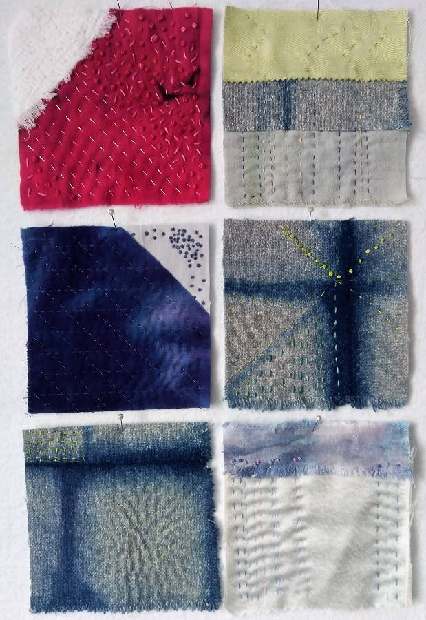 6 squares from the tenth month stitch meditation challenge by Doris Lovadina-Lee