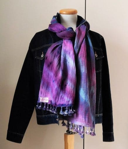 jean jacket with purple scarf with tassels made by doris lovadina-lee designs