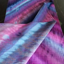 cotton scarf folded showing purple, mauve and light blue stripes made in toronto canada