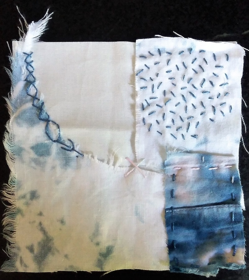 5 in square of fabric scraps hand dyed and hand embroidered
