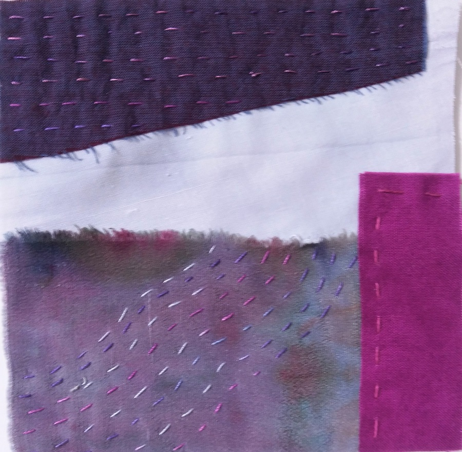 purple scrap cotton and silk fabrics embroidered with running stitches